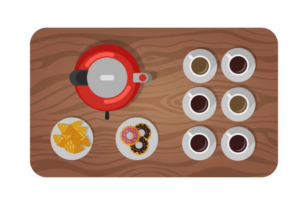 ilustrações de stock, clip art, desenhos animados e ícones de wooden table set for tea, coffee break. view from top - coffee table