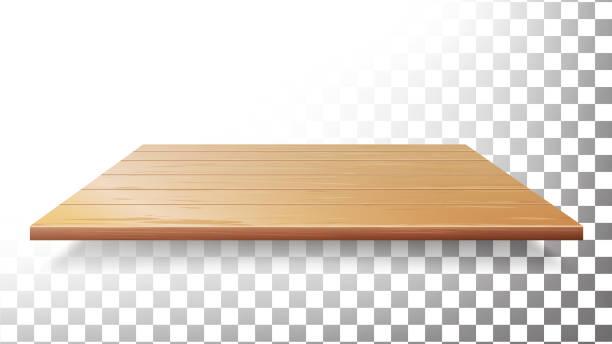 illustrazioni stock, clip art, cartoni animati e icone di tendenza di wooden table top, floor, wall shelf vector. realistic wood texture isolated - tavolo legno