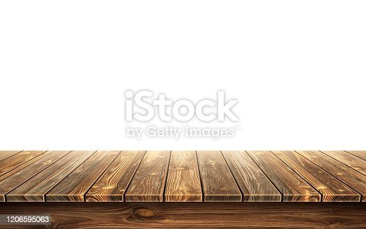 istock Wooden table top with aged surface, realistic 1206595063