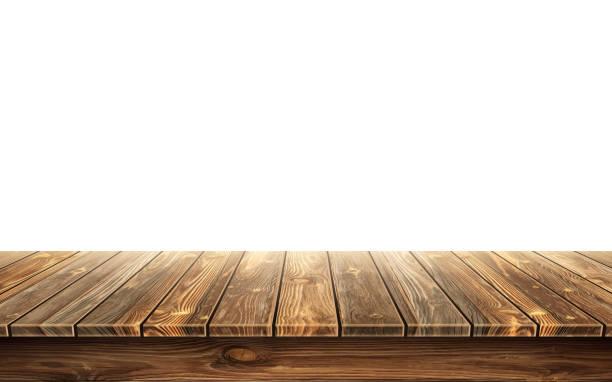 ilustrações de stock, clip art, desenhos animados e ícones de wooden table top with aged surface, realistic - na superfície