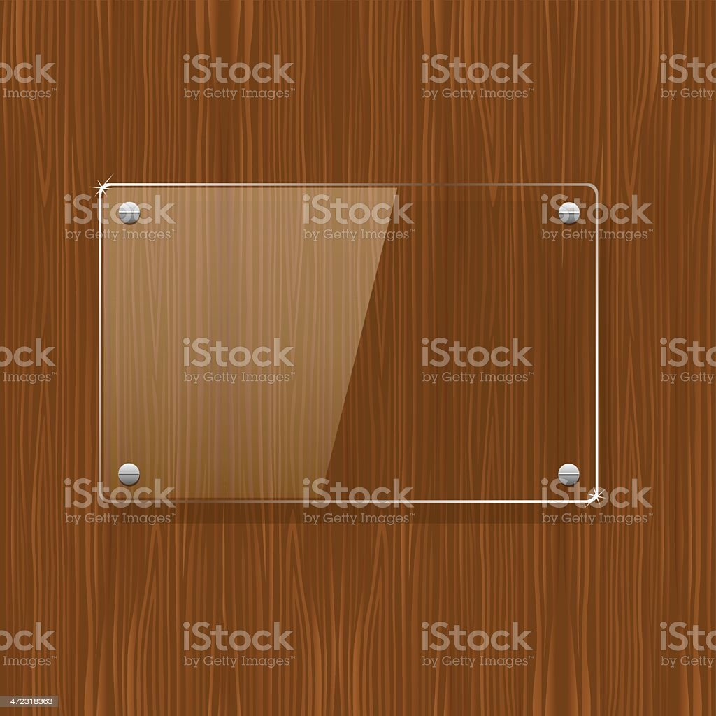 Wooden texture with glass frame vector art illustration