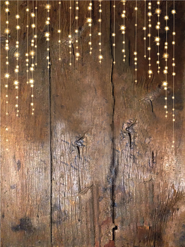 Wooden Textured Background String Lights Stock