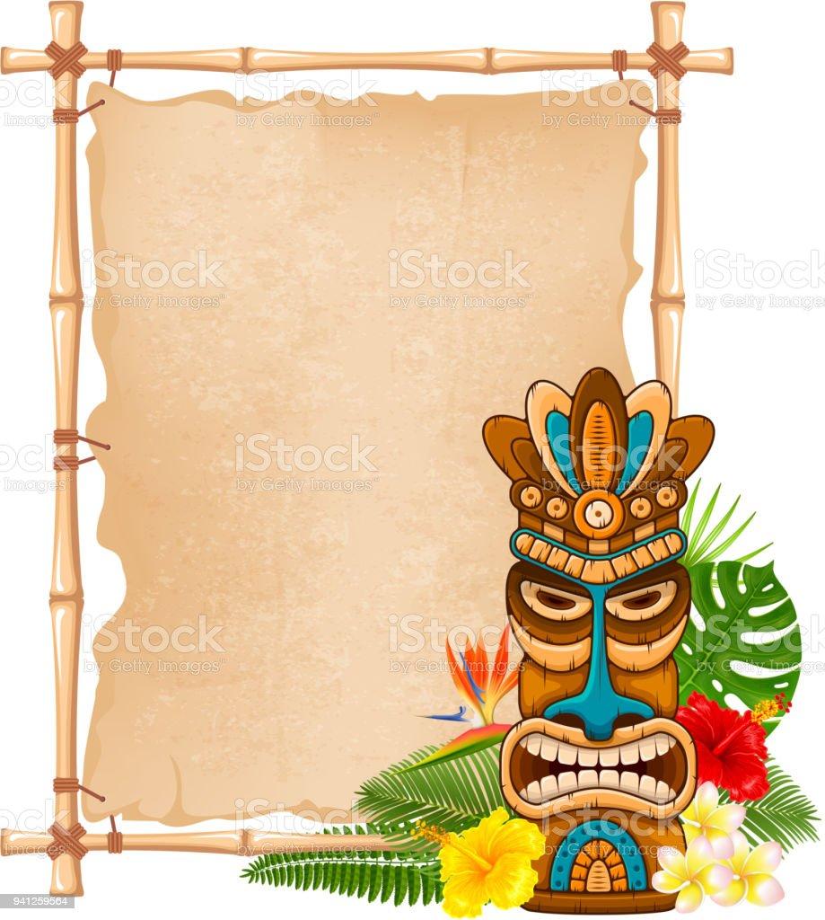Wooden Tiki mask and bamboo signboard vector art illustration