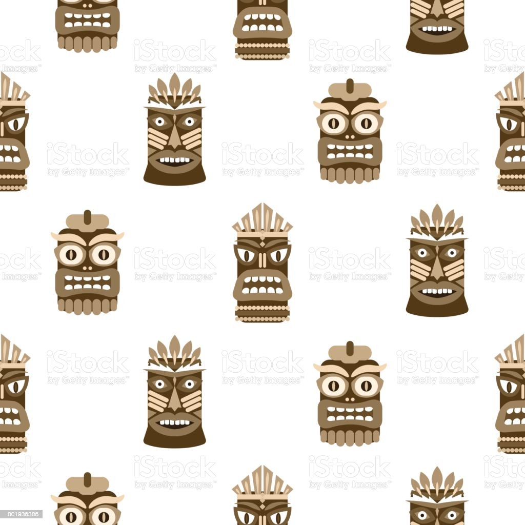 Wooden tiki mask seamless pattern vector vector art illustration