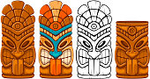 Tiki tribal wooden mask set and Tiki mug. Hawaiian traditional elements. Colored, wooden and black and white silhouette. Isolated on white background. Vector illustration.
