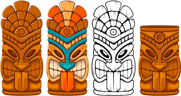 illustrazioni stock, clip art, cartoni animati e icone di tendenza di wooden tiki mask set - totem fair