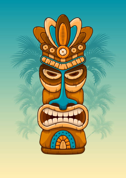 illustrazioni stock, clip art, cartoni animati e icone di tendenza di wooden tiki mask - totem fair