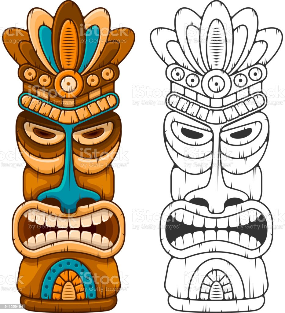 wooden tiki mask stock vector art more images of african culture rh istockphoto com tiki vector art free tiki vector free download
