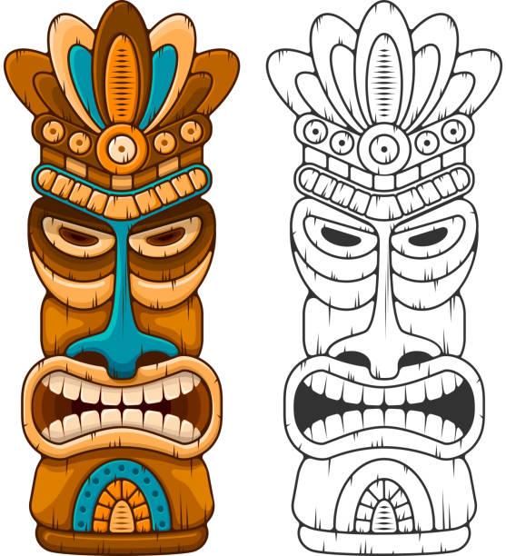 illustrazioni stock, clip art, cartoni animati e icone di tendenza di wooden tiki mask - totem fair