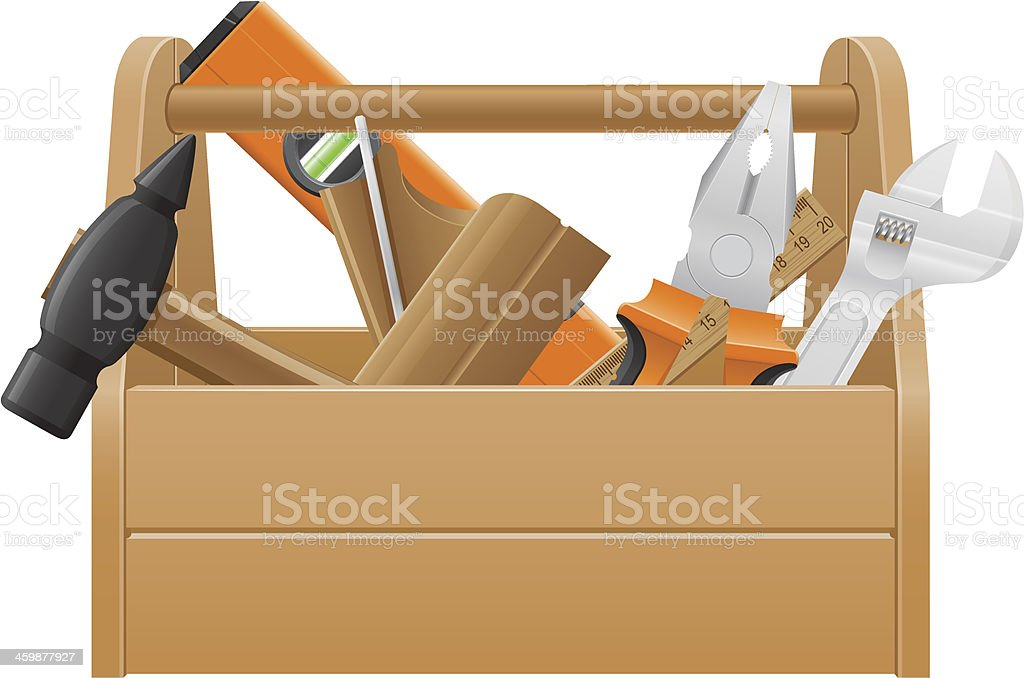 tool box clipart. wrench and hammer vector art illustration wooden tool box clipart
