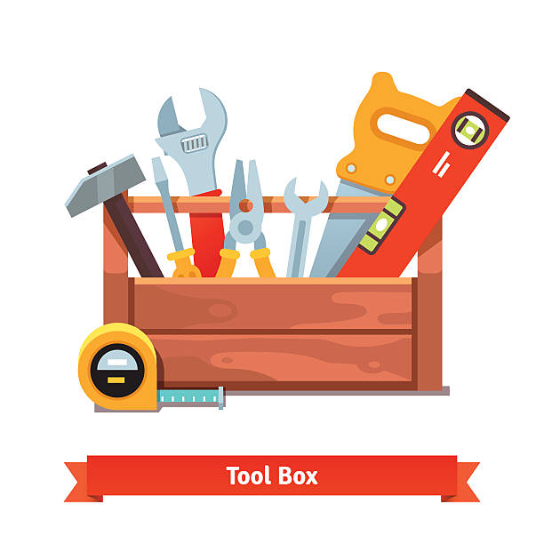 Wooden toolbox full of equipment Wooden toolbox full of equipment. Flat style vector illustration isolated on white background. carpenter stock illustrations