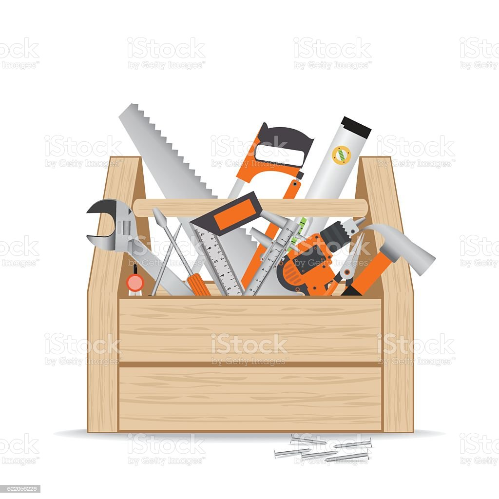 Wooden toolbox with repair and construction working tools. ベクターアートイラスト