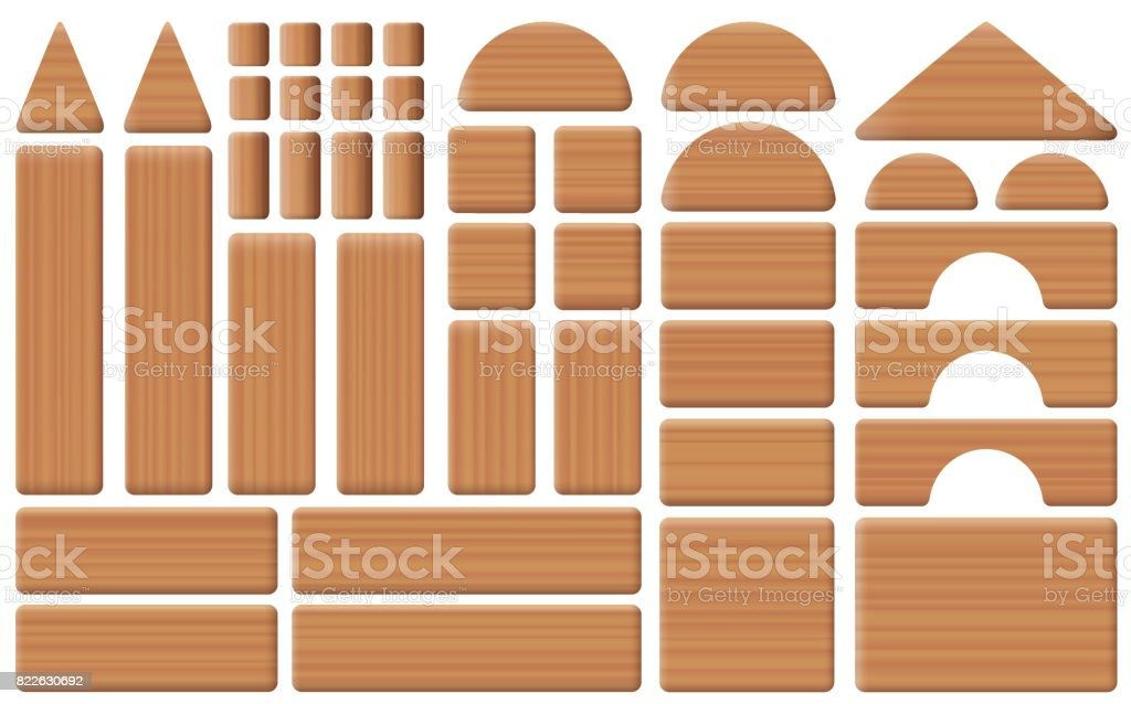 Wooden Toy Blocks Collection Of Building Bricks Pillars Arch And