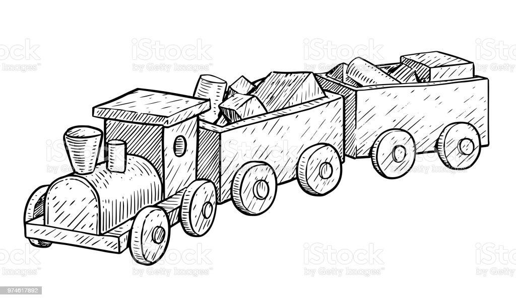 Jouet en bois train illustration dessin gravure encre dessin au trait vecteur cliparts - Train en dessin ...
