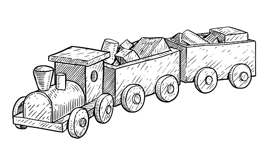 Wooden toy train illustration, drawing, engraving, ink, line art, vector