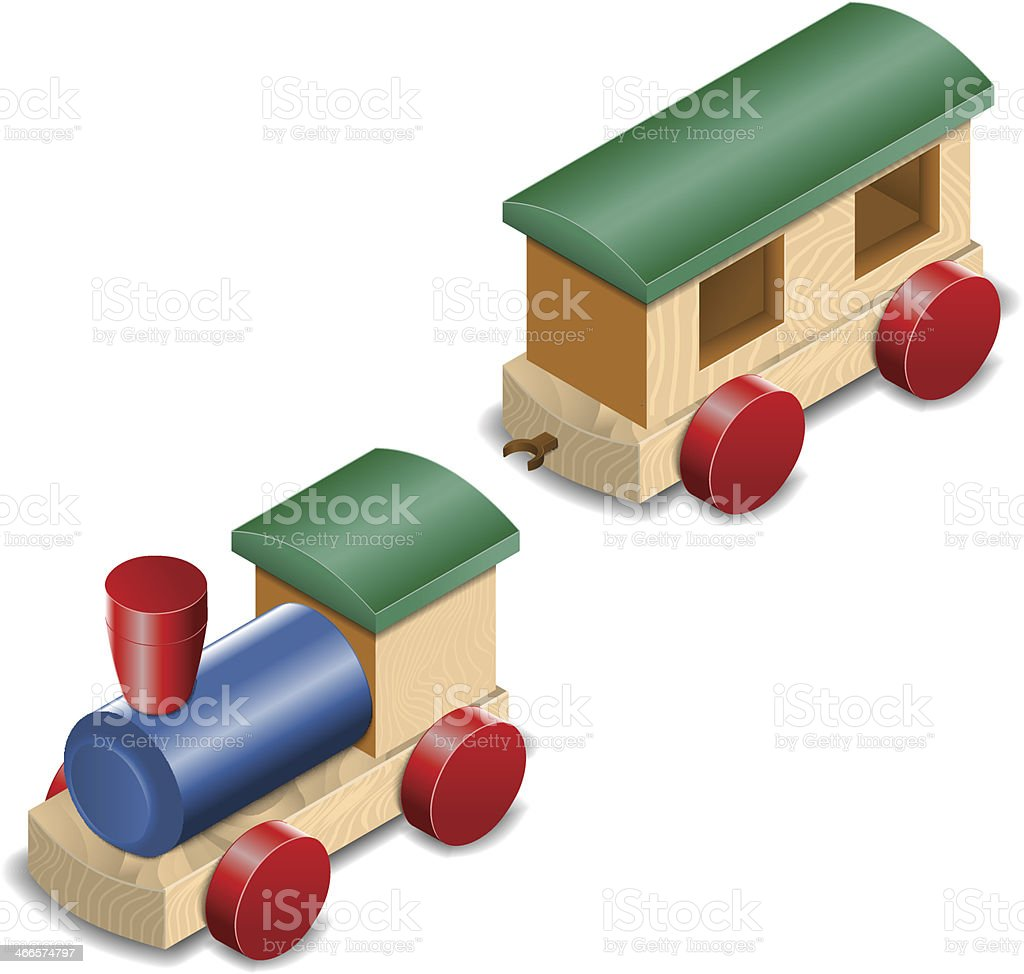 Wooden toy train isolated on white royalty-free stock vector art