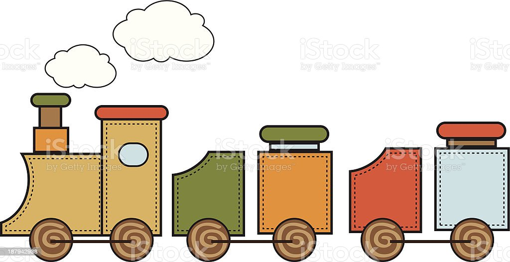 Wooden toy train royalty-free stock vector art