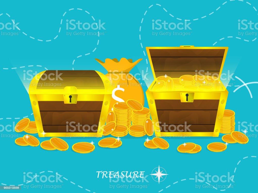 wooden treasure chest gold coin sack,treasure map vector