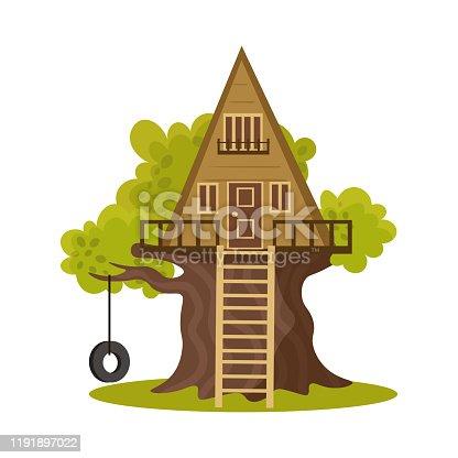 istock Wooden triangular house on green blooming tree vector illustration 1191897022