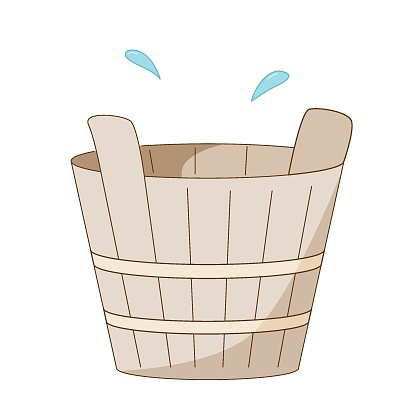 Wooden tub or basin for use in a sauna or steam room. Colored isolated illustrations in cartoon style with an outline on a white.