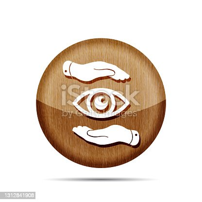 istock wooden two hands take care of the eye icon - protecting vector i 1312841908