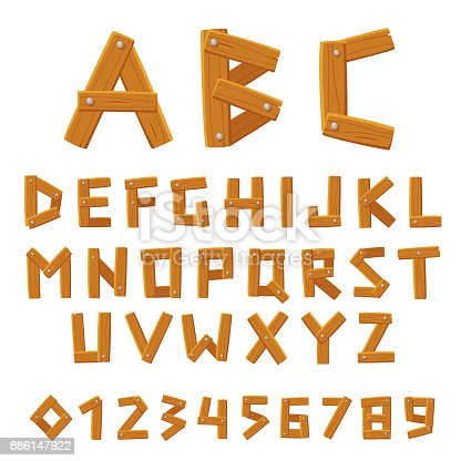 Wooden vector font, alphabet and numbers set. Made of planks of wood and nails. Cartoon style vector letters.