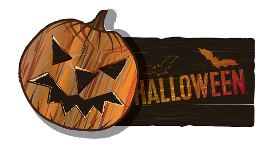 wooden vector banner with halloween pumpkin isolated on white