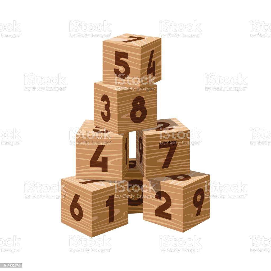 Ladrillos de madera vector edificio Torre - ilustración de arte vectorial