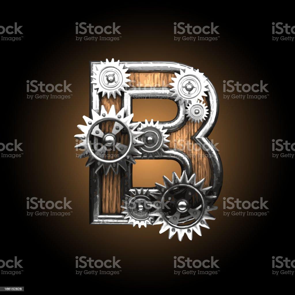 wooden vector gearwheel figure B royalty-free stock vector art