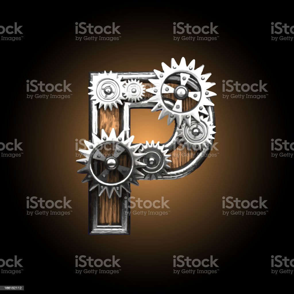 wooden vector gearwheel figure P royalty-free stock vector art