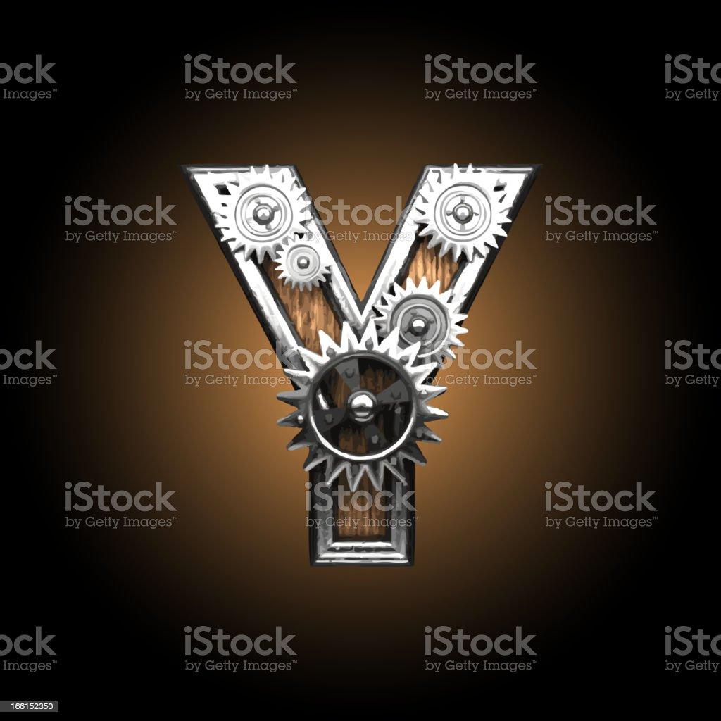 wooden vector gearwheel figure Y royalty-free stock vector art