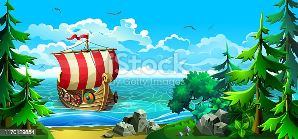 Wooden viking ship with striped sails. Vikings conquer new lands. Rocky coastline with firs and sandy beach. Vector illustration.