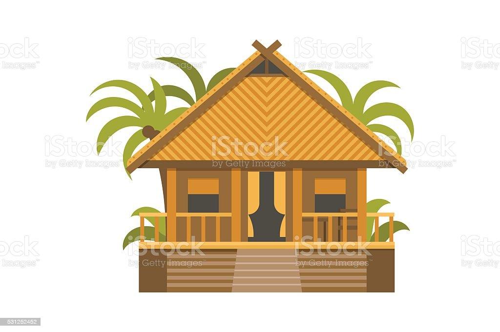 Wooden Villa House Apartments vector art illustration