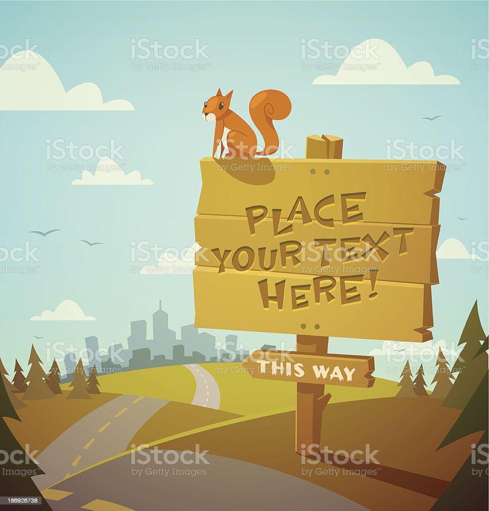 Wooden village sign. Vector illustration. vector art illustration