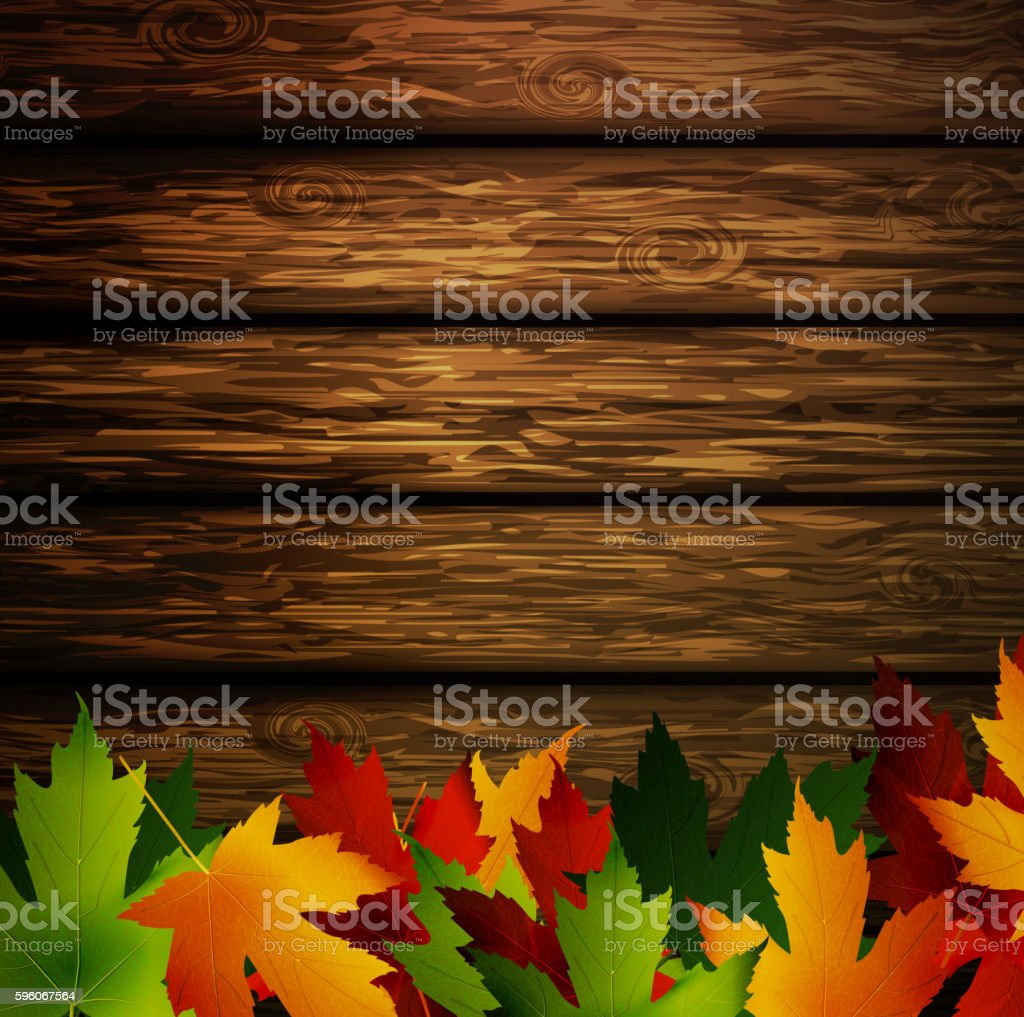 Wooden wall with autumn leaves royalty-free wooden wall with autumn leaves stock vector art & more images of autumn