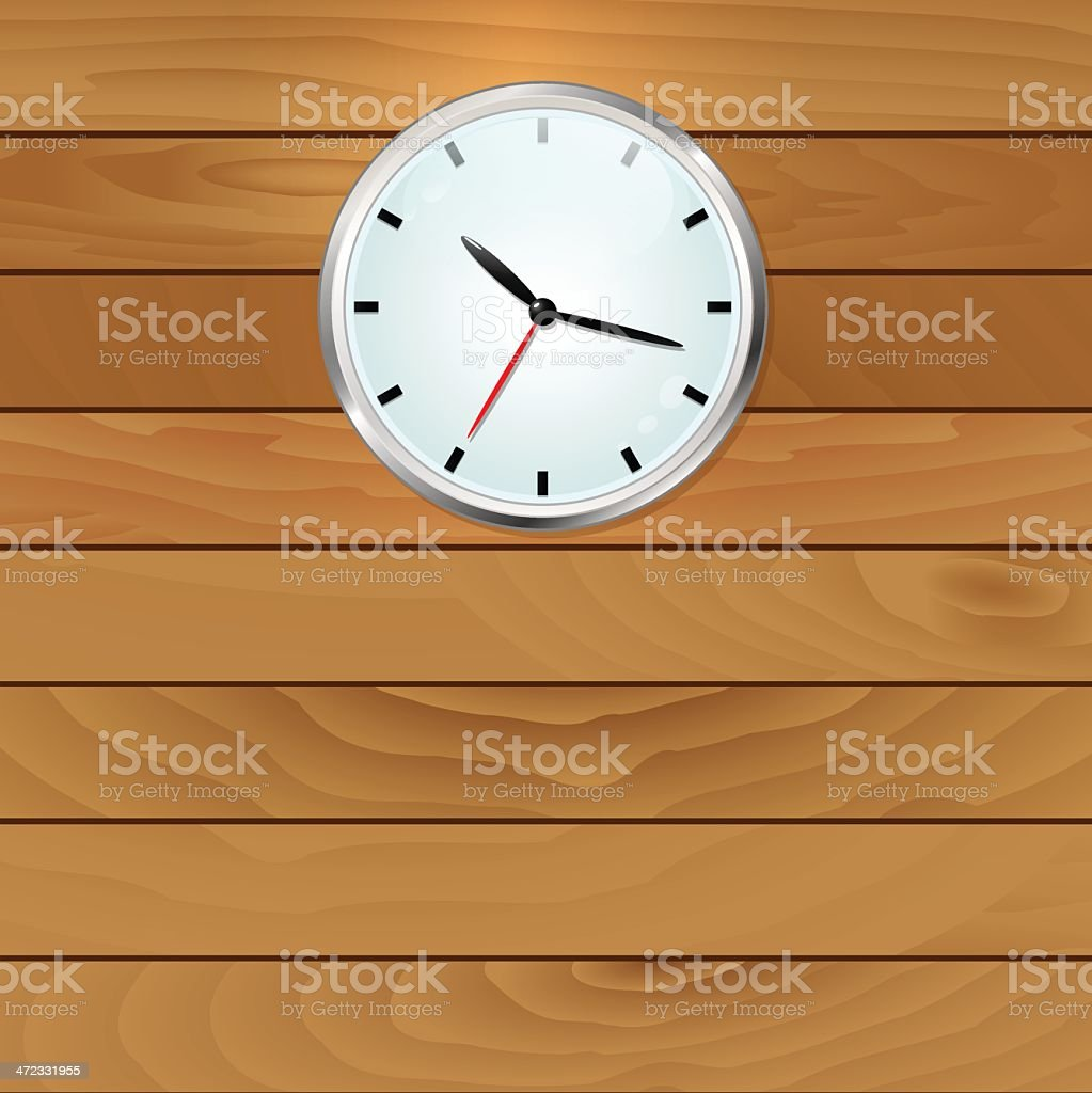Wooden wall with clock background royalty-free stock vector art