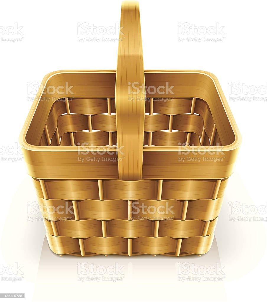 wooden weave basket royalty-free stock vector art