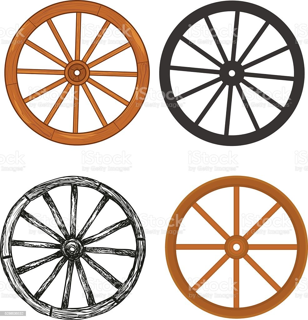 Wooden wheel vector art illustration