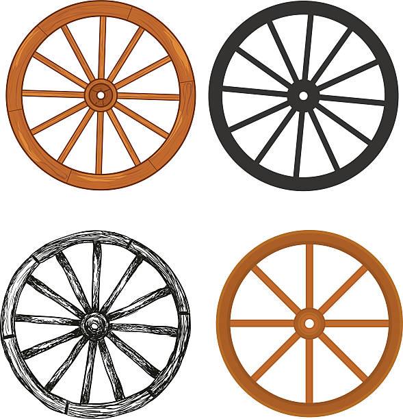 stockillustraties, clipart, cartoons en iconen met wooden wheel - wiel