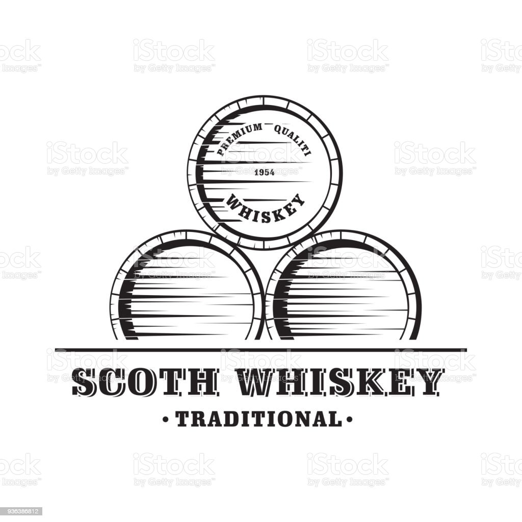 Wooden Whiskey Barrel vector art illustration