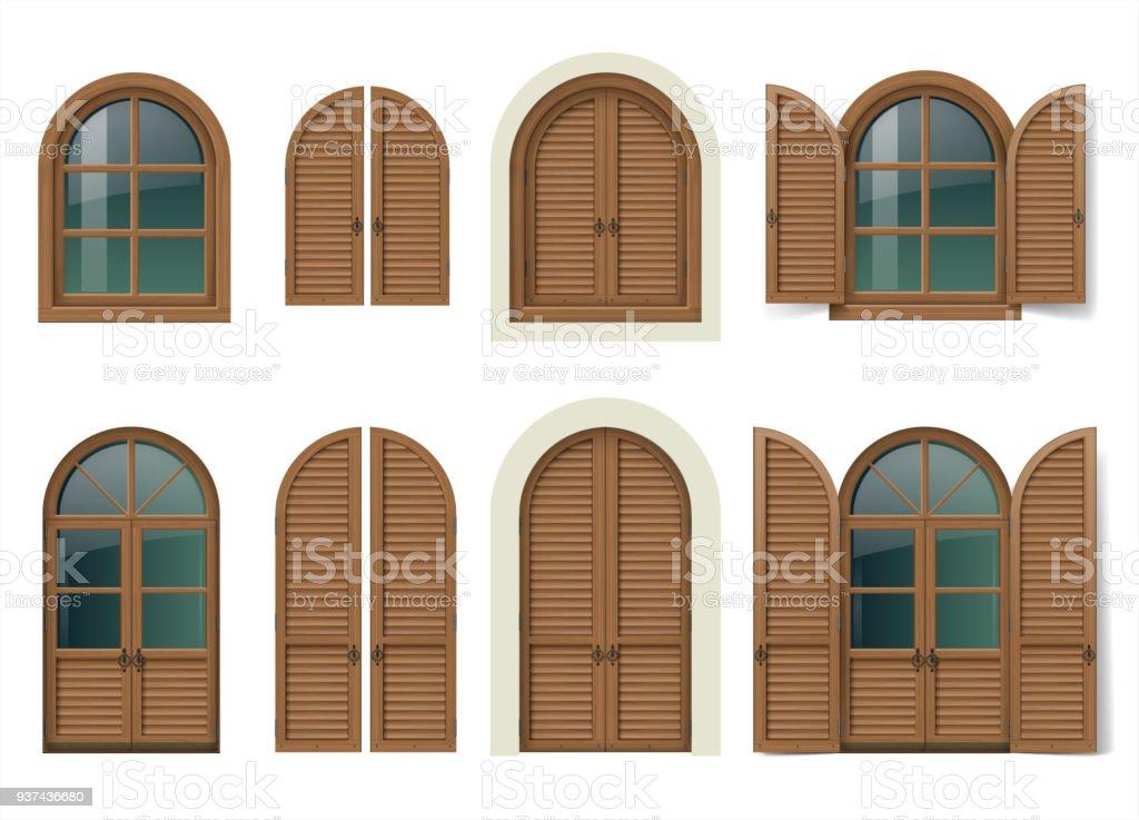 Fenêtre En Bois Et Portes Avec Volets Vecteurs Libres De Droits Et