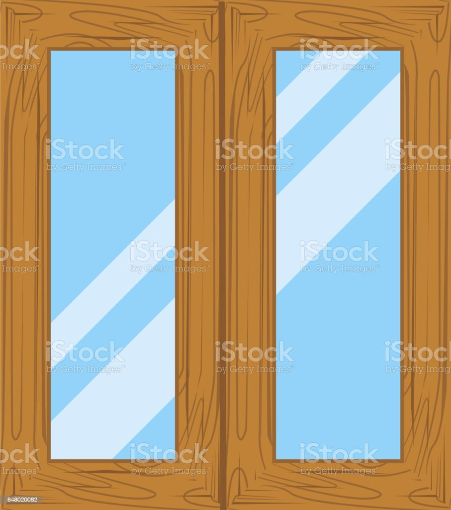 wooden window frames view royalty free stock vector art - Wooden Window Frames