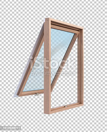 istock Wooden window in side projection on transparent background vector illustration. 1312639211