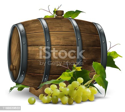 Wooden wine barrel and vine with a bunch of grapes. 3D vector. High detailed realistic illustration.