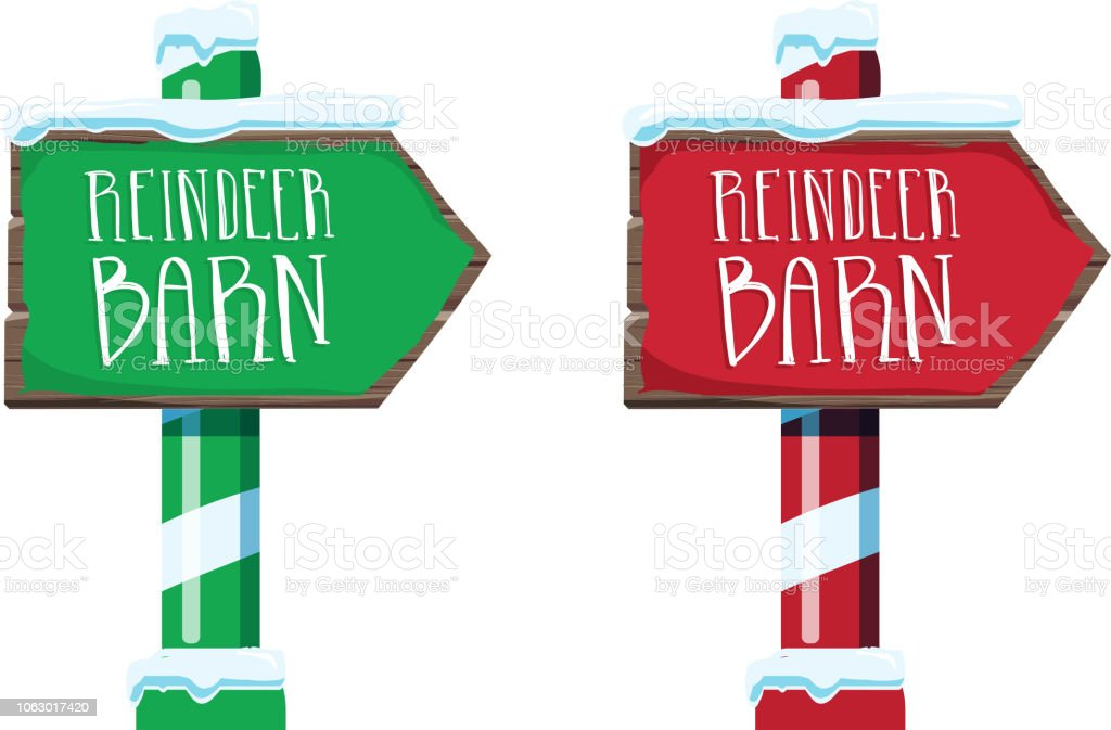 Wooden winter Christmas Reindeer Barn sign with handwriting or hand lettered text vector art illustration
