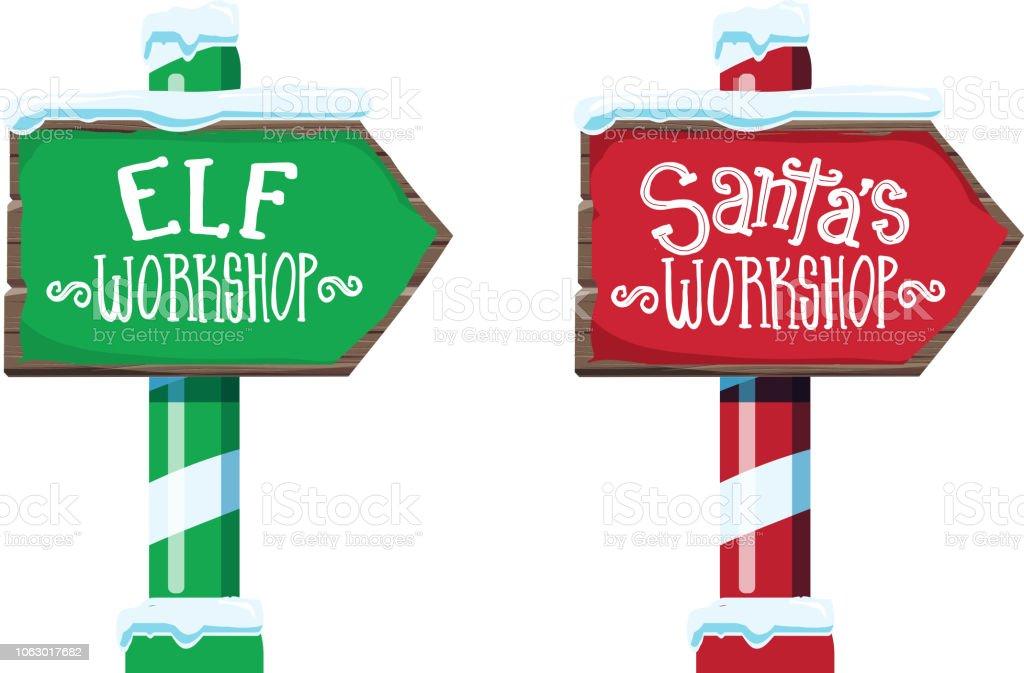 Texte en lettres en bois hiver atelier du père Noël Noël et signe de Elf atelier avec l'écriture ou à la main - Illustration vectorielle