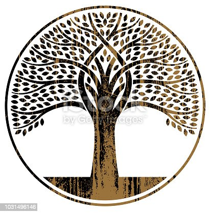 A graphic tree, with intersecting branches and a wood grain effect.