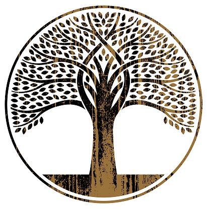 Woodgrain circular tree illustration