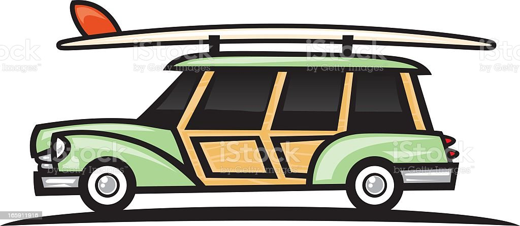 woodie surf wagn vector art illustration