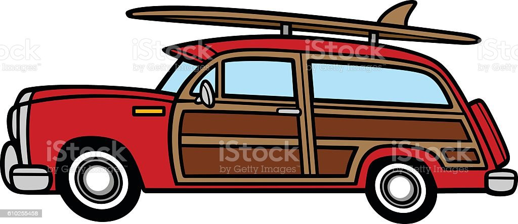 woodie surf wagon stock vector art more images of beach 610255458 rh istockphoto com Clark Griswold Station Wagon Station Wagon Roof Rack Clip Art